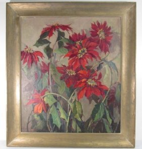 NELL WALKER WARNER OIL ON CANVAS PAINTING: POINSETTIA