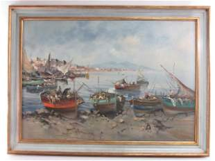 CONTINENTAL MARITIME HARBOR OIL ON CANVAS PAINTING