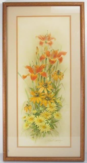 ROBERT LAESSIG LARGE WATER COLOR GOUACHE: DAISIES &