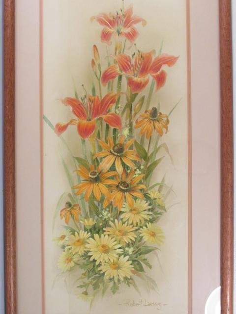 ROBERT LAESSIG LARGE WATER COLOR GOUACHE: DAISIES & - 2