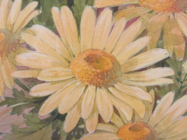 ROBERT LAESSIG LARGE WATER COLOR GOUACHE: DAISIES & - 3