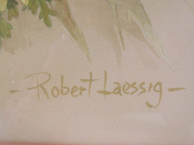 ROBERT LAESSIG LARGE WATER COLOR GOUACHE: DAISIES & - 6