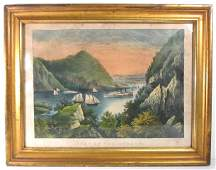19TH C CURRIER  IVES LITHOGRAPH VIEW ON THE HUDSON