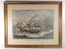 LARGE N CURRIER HAND COLORED LITHOGRAPH AMERICAN