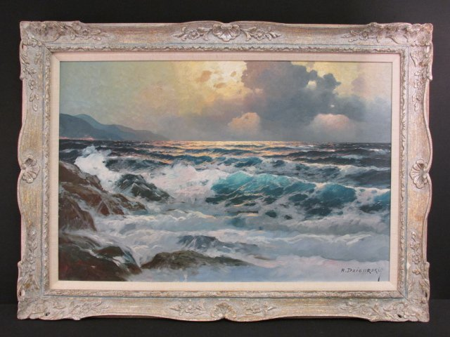 ALEXANDER A. DZIGURSKI OIL ON CANVAS PAINTING: SEASCAPE