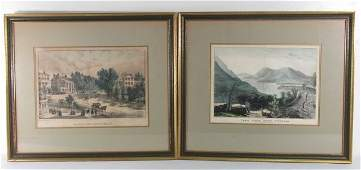 TWO CURRIER  IVES HAND COLORED PRINTS SARATOGA