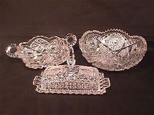 3 PIECES CUT CRYSTAL PRESSED GLASS