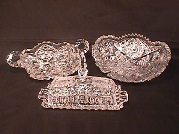 433: 3 PIECES CUT CRYSTAL PRESSED GLASS