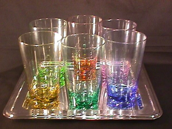 437: STAINLESS TRAY 6  COLORED CRYSTAL GLASS TUMBLERS