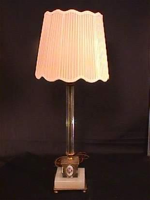 GLASS ALABASTER BRONZE ENAMEL LAMP