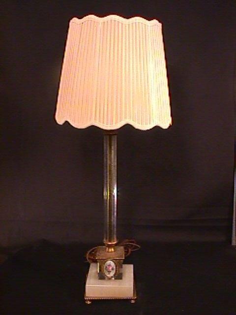 438: GLASS ALABASTER BRONZE ENAMEL LAMP