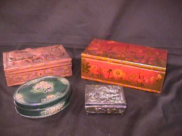 442: ASSORTED DECORATIVE BOXES WOOD METAL