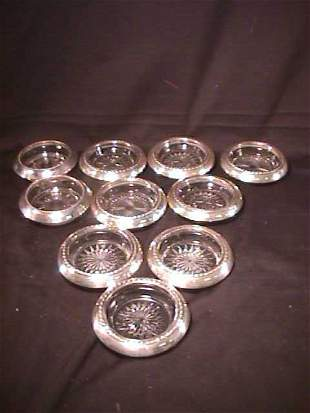 STERLING GLASS CRYSTAL COASTERS