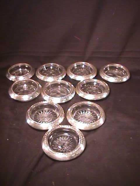 450: STERLING GLASS CRYSTAL COASTERS