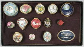 TWELVE HALCYON DAYS ENGLISH ENAMEL BOXES & SIGN