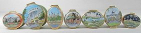 HALCYON DAYS ENGLISH ENAMEL BOXES, ETC. 7 PCS