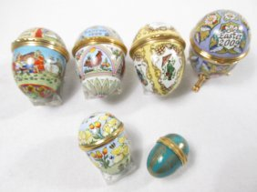SIX HALCYON DAYS EGG FORM ENAMELED BOXES