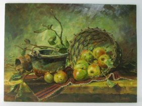 OIL ON MASONITE STILL LIFE PAINTING SIGNED HECK