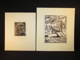 TWO LEOPOLDO MENDEZ LINOCUT PRINTS: THE LETTER