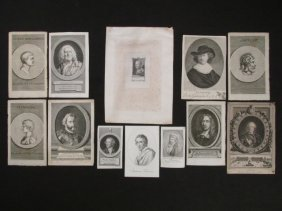 TWELVE ANTIQUE ENGRAVED PORTRAITS, 18TH & 19TH CENTURY