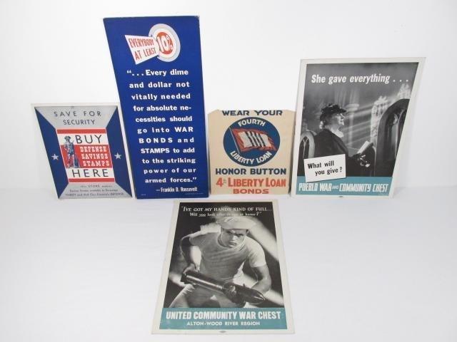 FIVE WW2 WAR CARDBOARD POSTERS: WAR BONDS, WAR CHEST