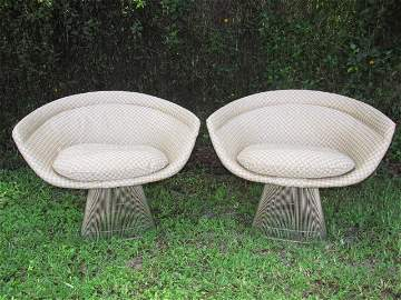 PAIR UPHOLSTERED KNOLL PLATNER SIDE CHAIRS