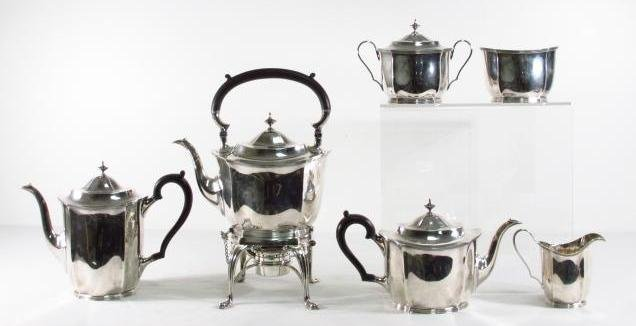 HEAVY STERLING SILVER TEA SET AFTER DANIEL PONTIFEX