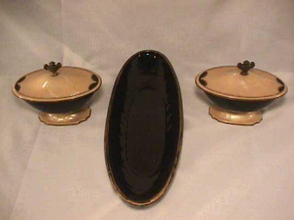 800: ART DECO CELLULOID VANITY JARS PLUS POTTERY BOWL