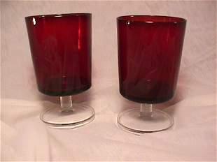 PR RUBY GLASS STEMMED GOBLETS MONOGRAMMED