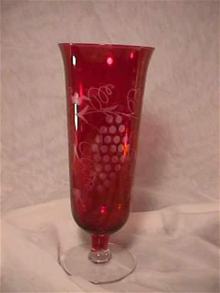 ETCHED CRANBERRY FLASH GLASS VASE