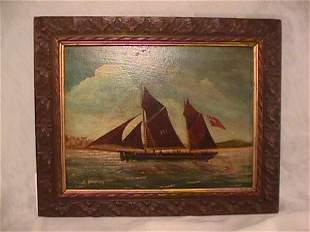 OIL ON BOARD PAINTING BRITISH SAILING SHIP SIGNED