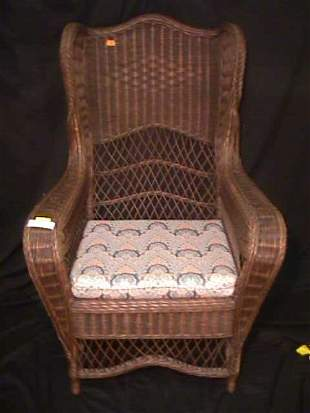 LG BROWN NATURAL WICKER SIDE CHAIR OTTOMAN