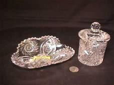 906: CUT CRYSTAL CONDIMENT JAR AND CELERY DISH