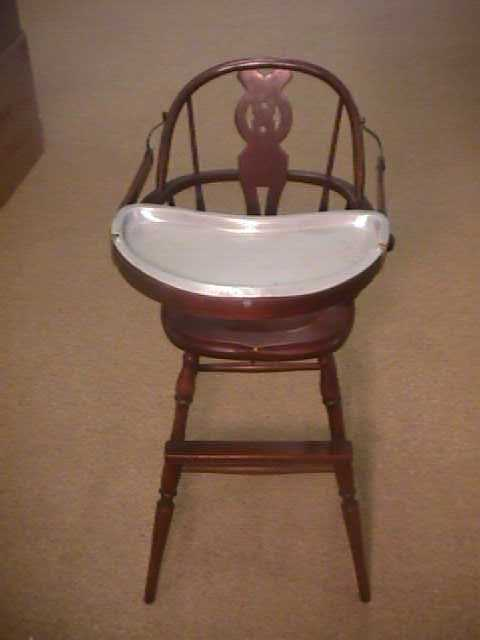982: ANTIQUE WOOD BABY HIGH CHAIR METAL TRAY