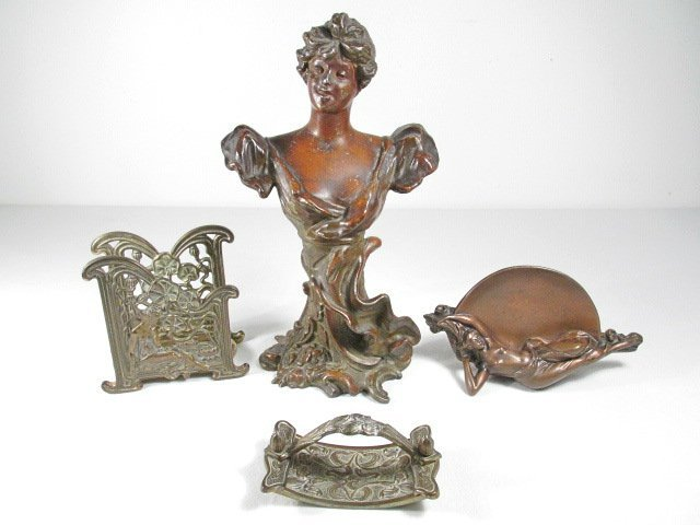 FOUR ART NOUVEAU DECORATIVES & DESK ACCESSORIES