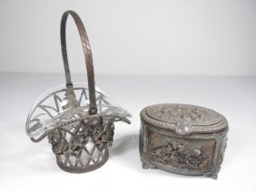 19TH C SILVER PLATED TABLEWARES: BASKET & BOX