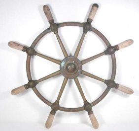 EARLY 20TH C BROWN BROS BRASS SHIP'S WHEEL