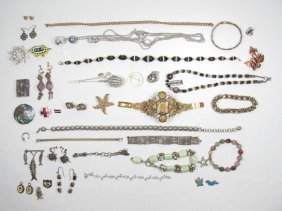 TRAY LOT VINTAGE & ANTIQUE JEWELRY: STERLING, ETC.