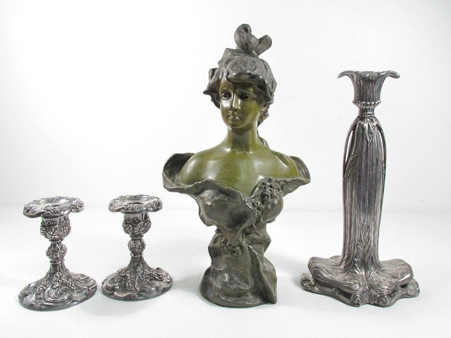 ART NOUVEAU BUST & SILVER PLATED ACCESSORIES