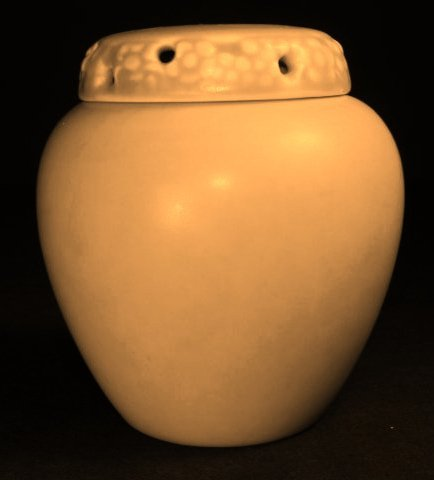 ROOKWOOD YELLOW GLAZED ART POTTERY SCENT OR ROSE JAR