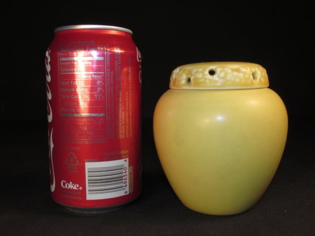 ROOKWOOD YELLOW GLAZED ART POTTERY SCENT OR ROSE JAR - 6