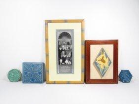 FOUR PIECES OF ROOKWOOD ART POTTERY: TRIVETS & TILE,