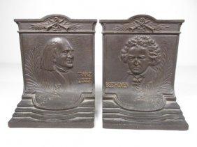 ANTIQUE BRADLEY & HUBBARD COMPOSER BOOKENDS