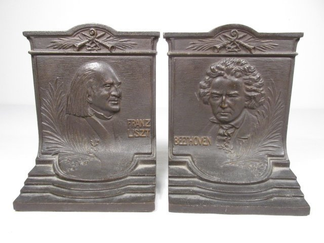 ANTIQUE BRADLEY & HUBBARD COMPOSER BOOKENDS
