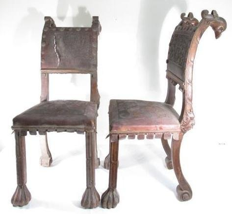 PAIR 19TH C CARVED WALNUT TOOLED LEATHER CHAIRS