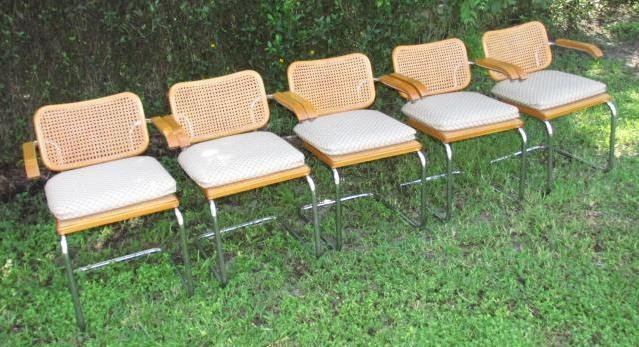 FIVE CESCA ARMCHAIRS BY MARCEL BREUER