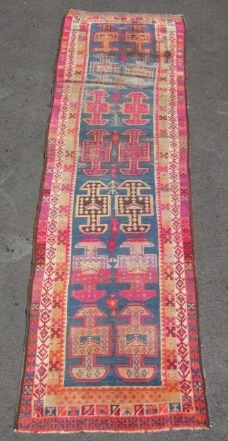 """CAUCASIAN HAND KNOTTED WOOL RUNNER - 12'4"""" x 3'6"""""""