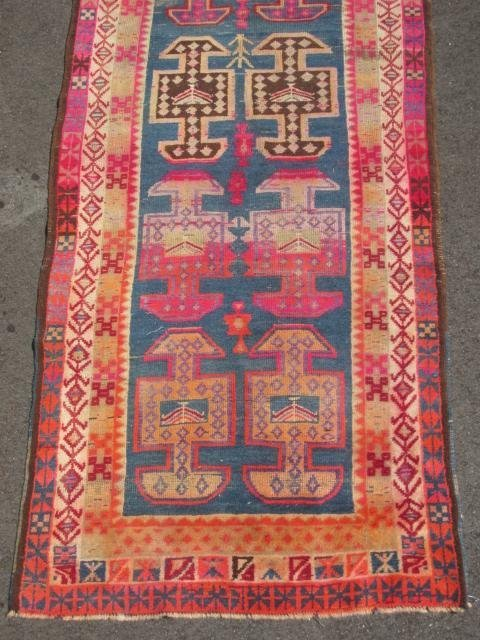 """CAUCASIAN HAND KNOTTED WOOL RUNNER - 12'4"""" x 3'6"""" - 2"""