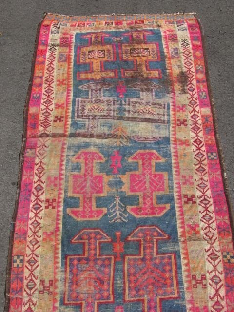 """CAUCASIAN HAND KNOTTED WOOL RUNNER - 12'4"""" x 3'6"""" - 3"""