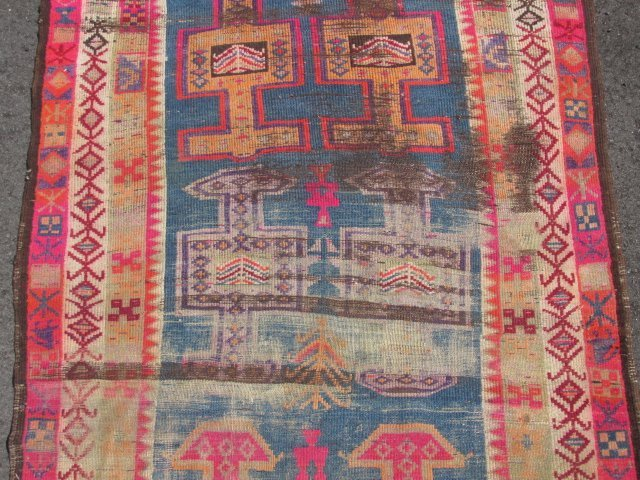 """CAUCASIAN HAND KNOTTED WOOL RUNNER - 12'4"""" x 3'6"""" - 4"""